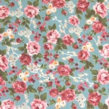 40% OFF Cotton Pink Roses on Duck Egg Print Cotton x 0.5m